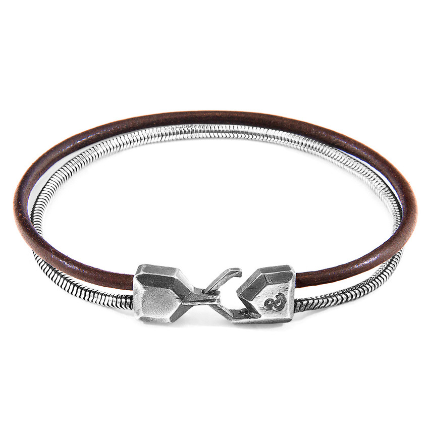 Anchor & Crew Mocha Brown Gallant Mast Silver and Round Leather Bracelet
