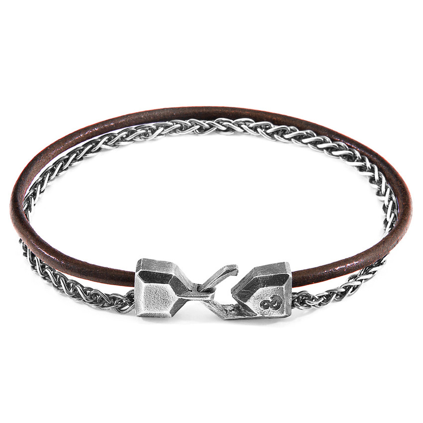 Anchor & Crew Mocha Brown Staysail Mast Silver and Round Leather Bracelet