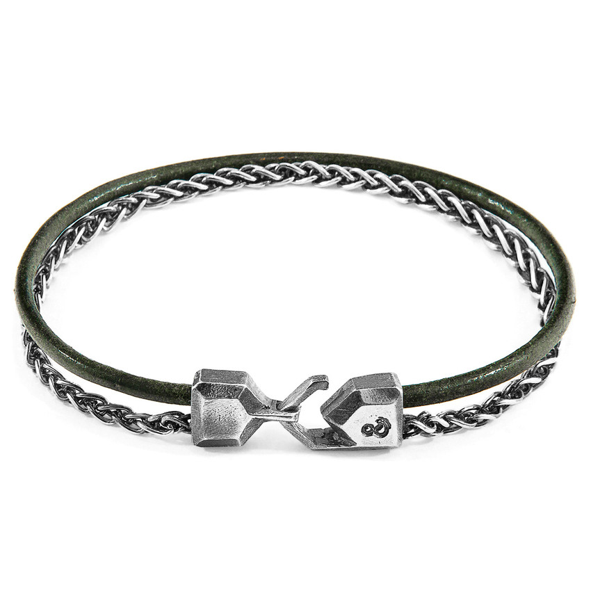 Anchor & Crew Racing Green Staysail Mast Silver and Round Leather Bracelet