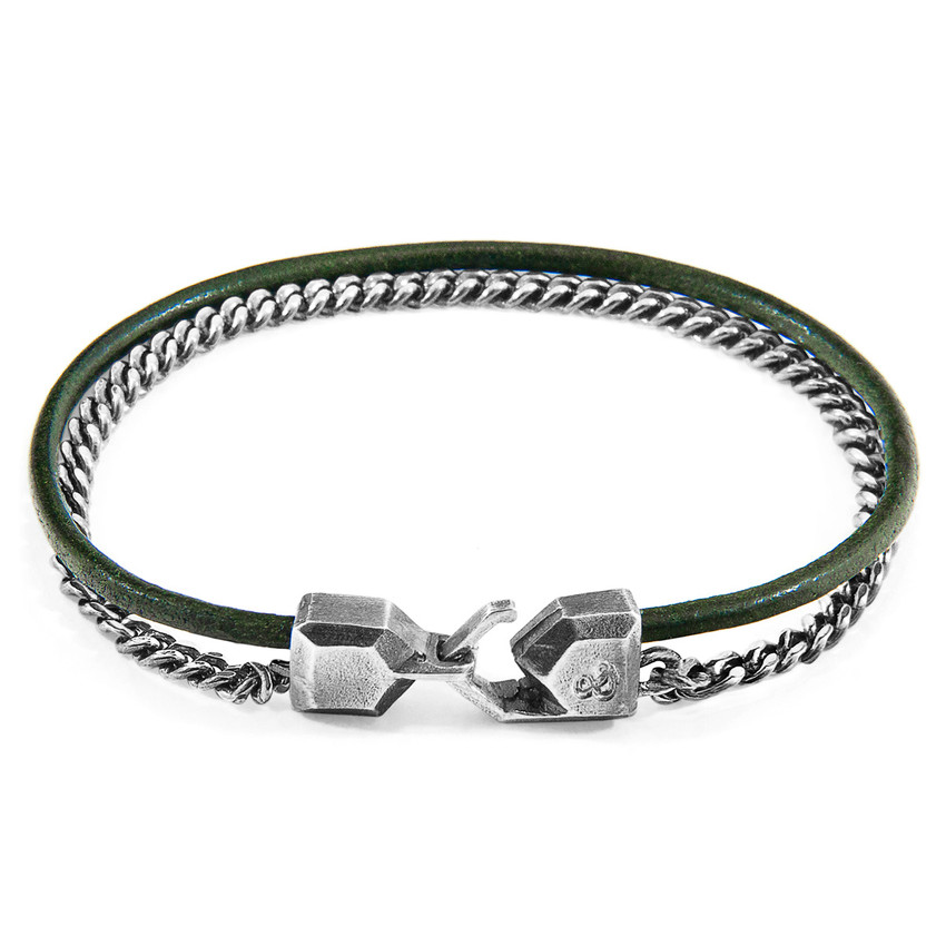 Anchor & Crew Racing Green Crossjack Mast Silver and Round Leather Bracelet