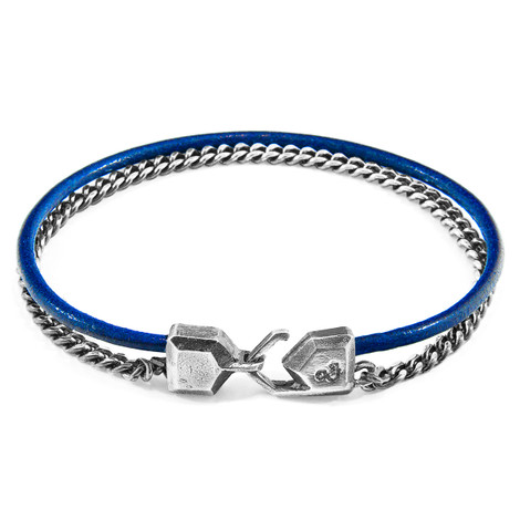 Anchor & Crew Azure Blue Crossjack Mast Silver and Round Leather Bracelet