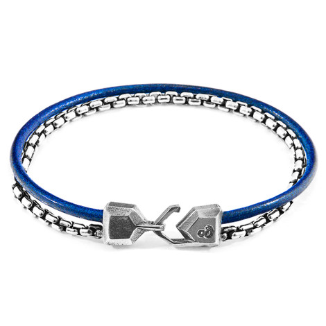 Anchor & Crew Azure Blue Moonraker Mast Silver and Round Leather Bracelet