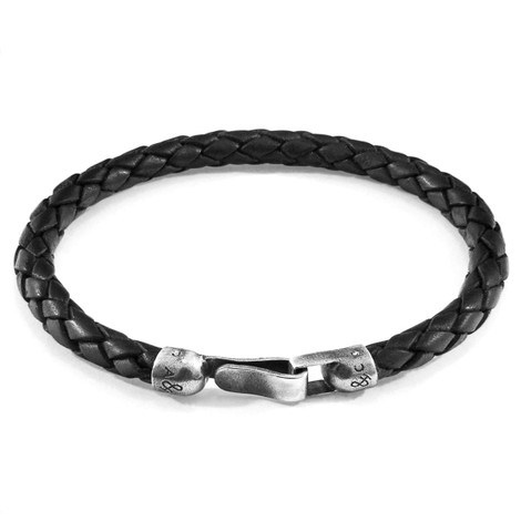 Anchor & Crew Midnight Black Skye Silver and Braided Leather Bracelet