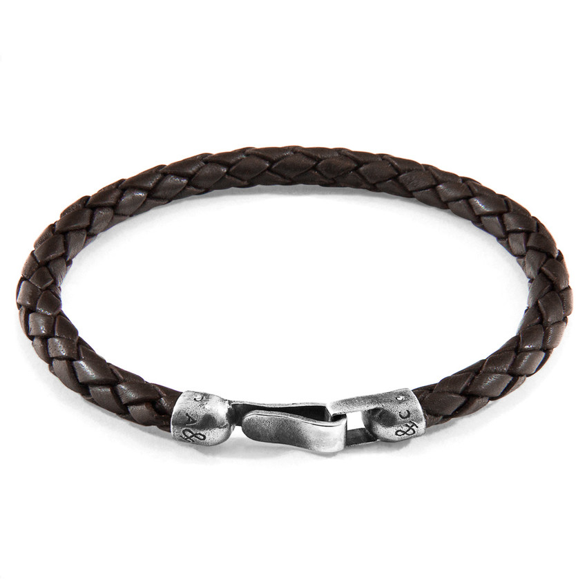 Anchor & Crew Cacao Brown Skye Silver and Braided Leather Bracelet