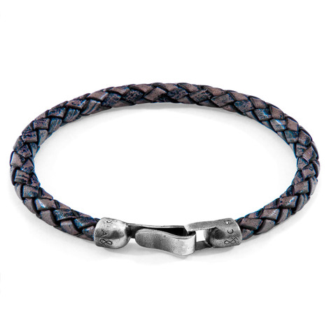 Anchor & Crew Indigo Blue Skye Silver and Braided Leather Bracelet