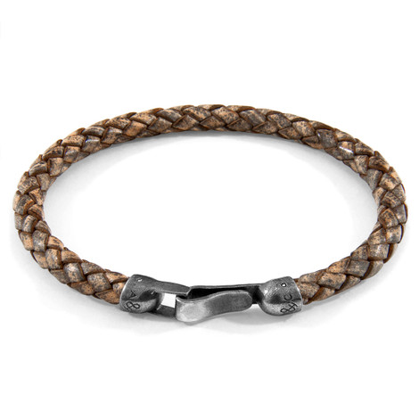 Anchor & Crew Taupe Grey Skye Silver and Braided Leather Bracelet