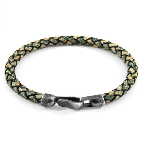 Anchor & Crew Petrol Green Skye Silver and Braided Leather Bracelet