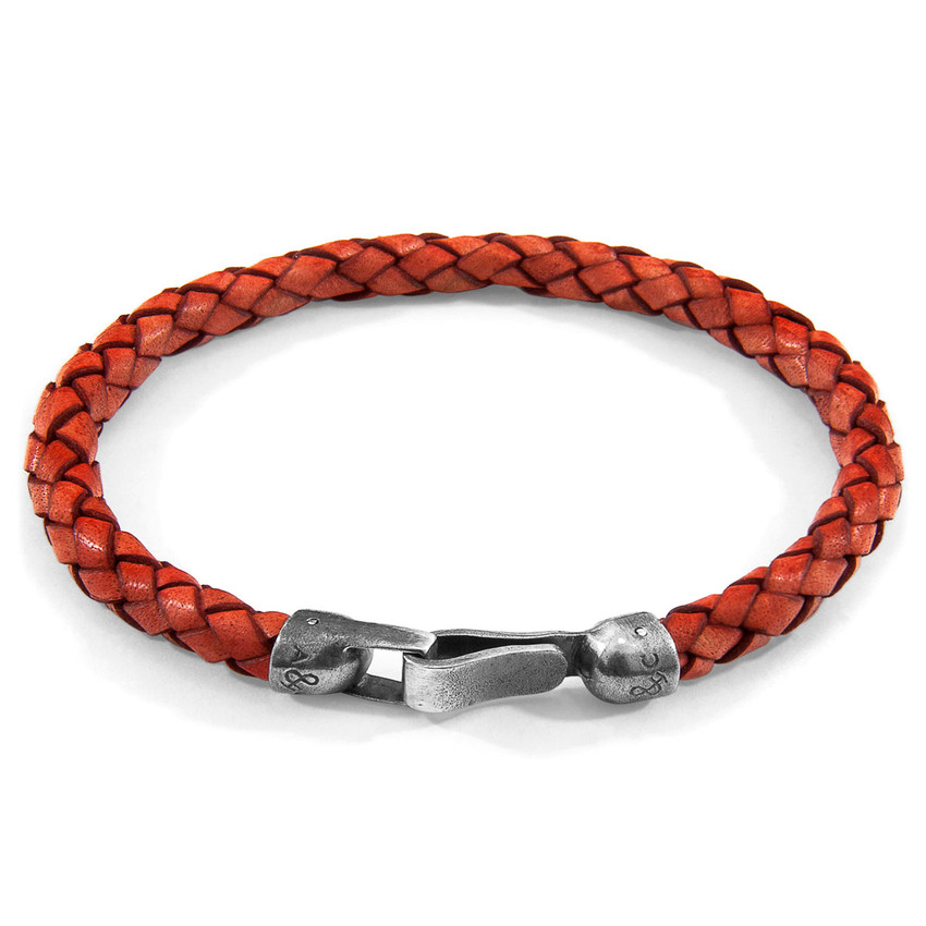 Anchor & Crew Amber Red Skye Silver and Braided Leather Bracelet
