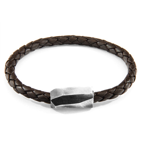 Anchor & Crew Cacao Brown Hayling Silver and Braided Leather Bracelet