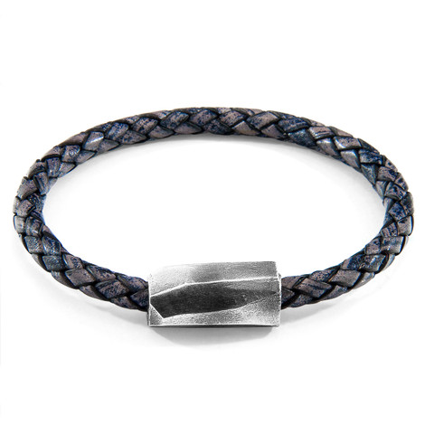 Anchor & Crew Indigo Blue Hayling Silver and Braided Leather Bracelet