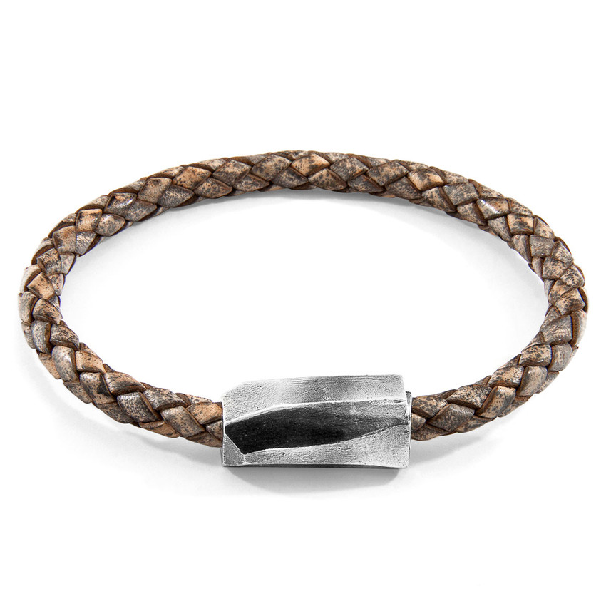 Anchor & Crew Taupe Grey Hayling Silver and Braided Leather Bracelet