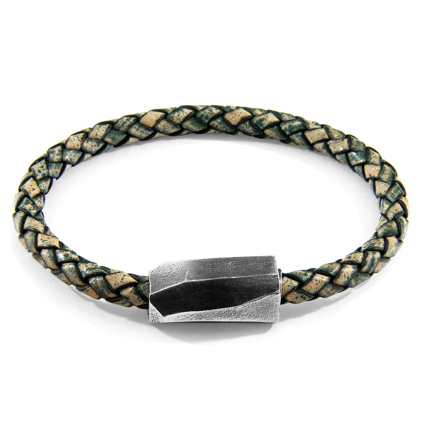 Anchor & Crew Petrol Green Hayling Silver and Braided Leather Bracelet