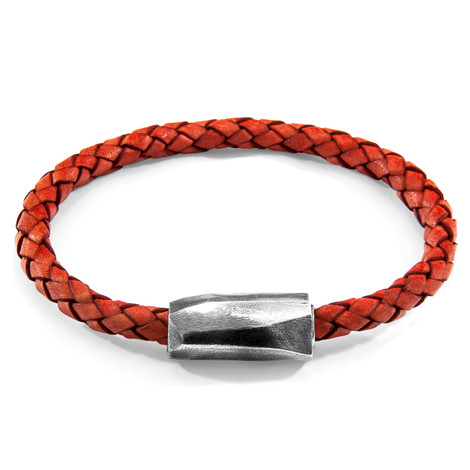 Anchor & Crew Amber Red Hayling Silver and Braided Leather Bracelet