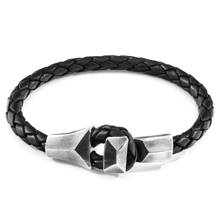 Anchor & Crew Midnight Black Alderney Silver and Braided Leather Bracelet