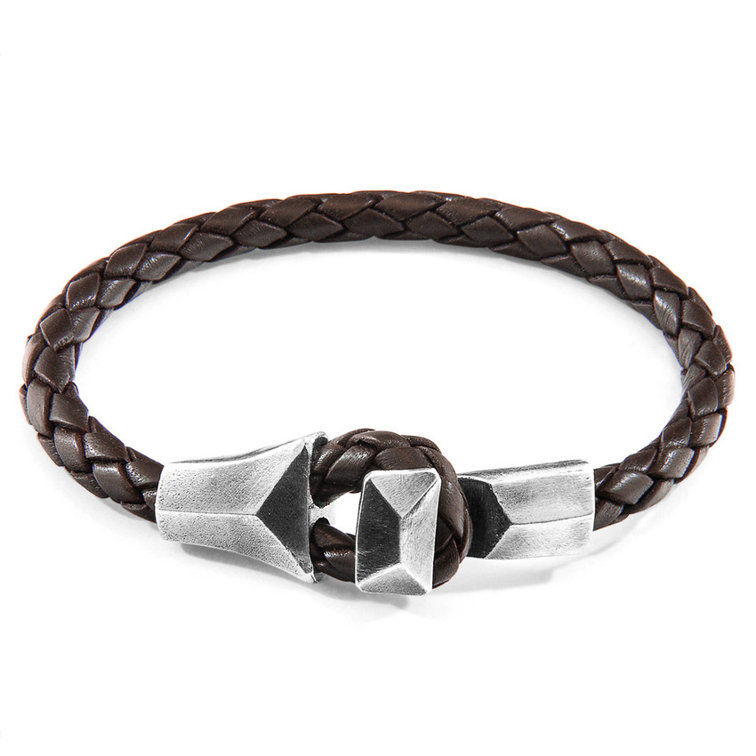 Anchor & Crew Cacao Brown Alderney Silver and Braided Leather Bracelet