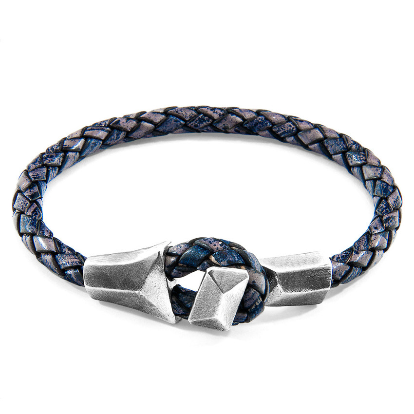 Anchor & Crew Indigo Blue Alderney Silver and Braided Leather Bracelet