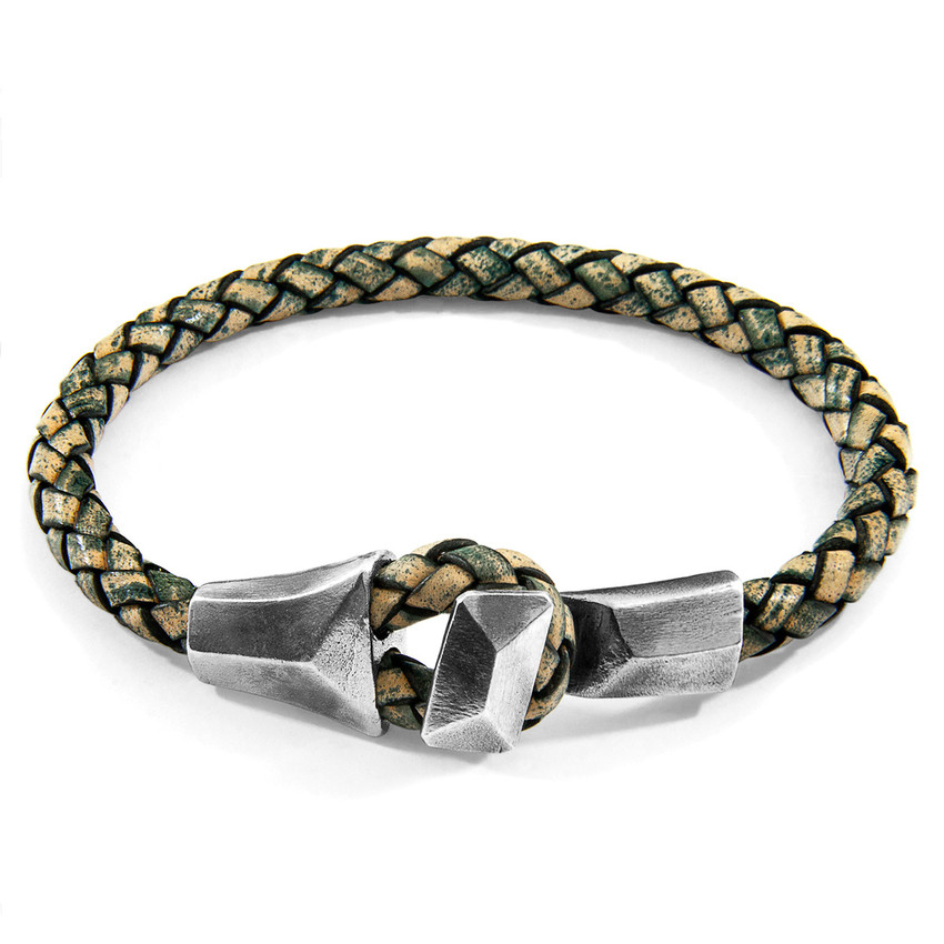Anchor & Crew Petrol Green Alderney Silver and Braided Leather Bracelet
