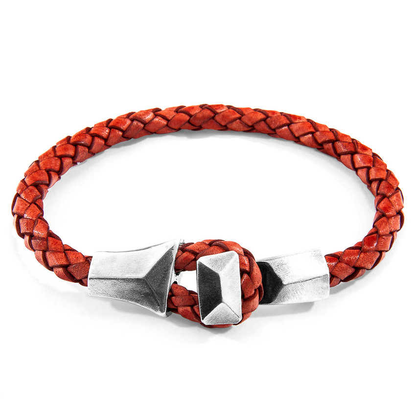 Anchor & Crew Amber Red Alderney Silver and Braided Leather Bracelet