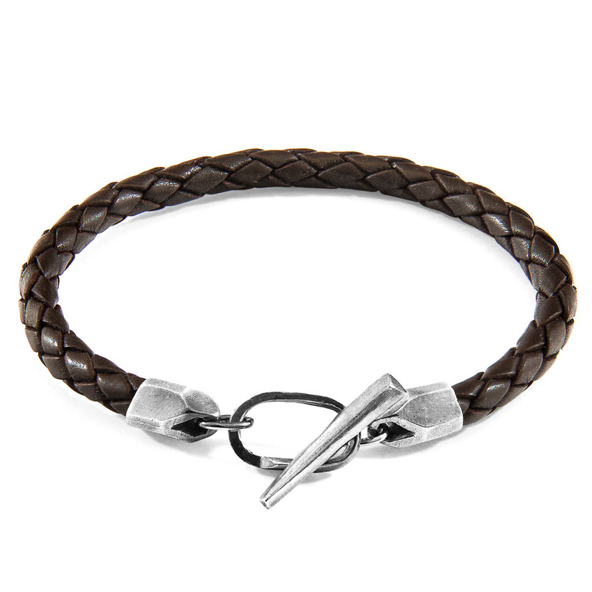 Anchor & Crew Cacao Brown Jura Silver and Braided Leather Bracelet