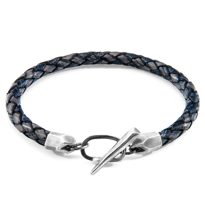 Anchor & Crew Indigo Blue Jura Silver and Braided Leather Bracelet