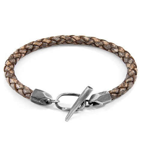 Anchor & Crew Taupe Grey Jura Silver and Braided Leather Bracelet