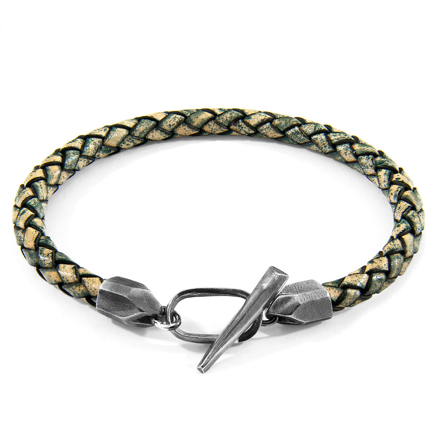Anchor & Crew Petrol Green Jura Silver and Braided Leather Bracelet