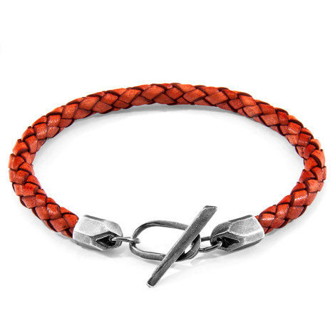 Anchor & Crew Amber Red Jura Silver and Braided Leather Bracelet