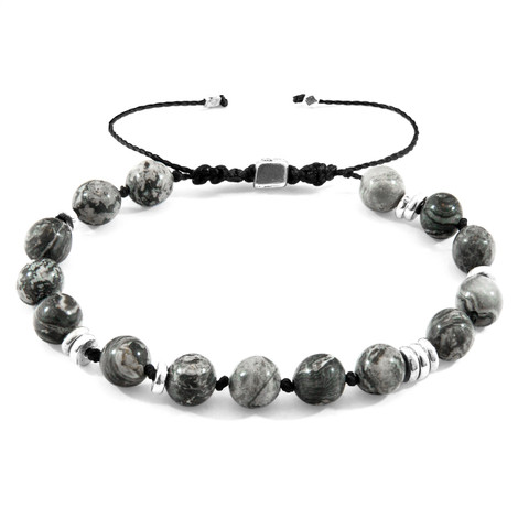 Anchor & Crew Grey Jasper Agaya Silver and Stone Beaded Macrame Bracelet