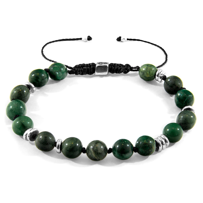 Anchor & Crew Green Jade Agaya Silver and Stone Beaded Macrame Bracelet