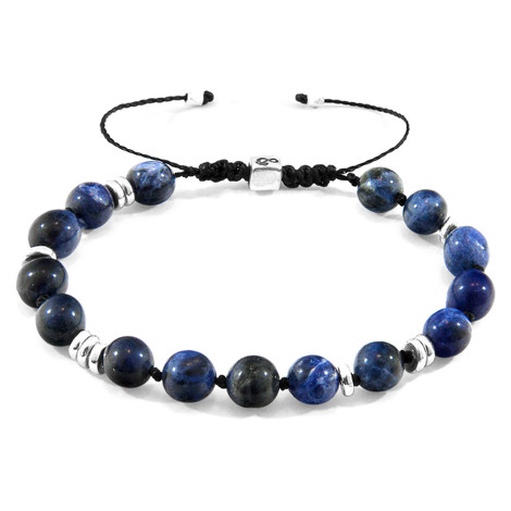 Anchor & Crew Blue Sodalite Agaya Silver and Stone Beaded Macrame Bracelet