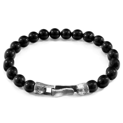 Anchor & Crew Black Onyx Nachi Silver and Stone Beaded Bracelet