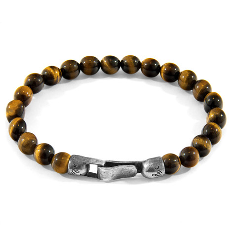 Anchor & Crew Brown Tigers Eye Nachi Silver and Stone Beaded Bracelet