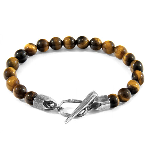 Anchor & Crew Brown Tigers Eye Tinago Silver and Stone Beaded Bracelet