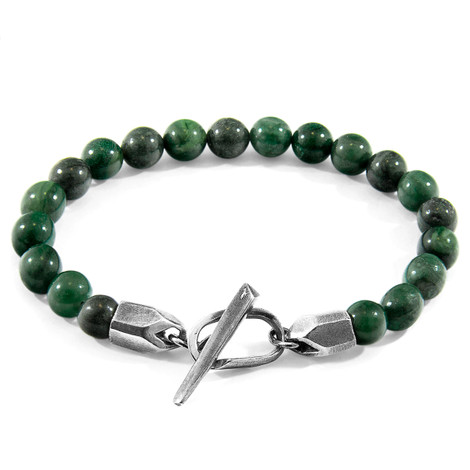 Anchor & Crew Green Jade Tinago Silver and Stone Beaded Bracelet