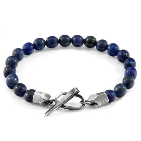 Anchor & Crew Blue Sodalite Tinago Silver and Stone Beaded Bracelet