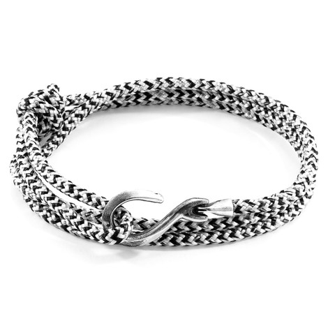 Anchor & Crew White Noir Heysham Silver and Rope Bracelet