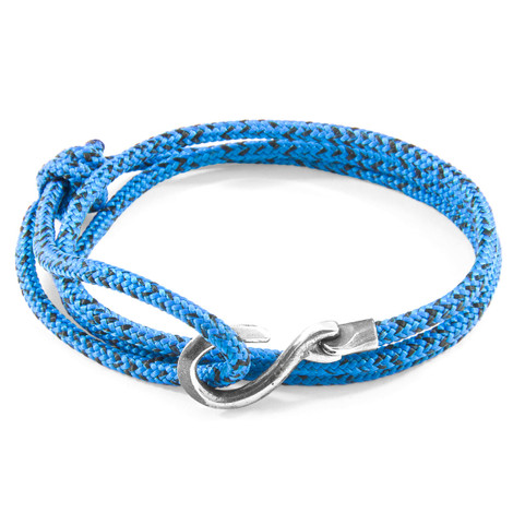 Anchor & Crew Blue Noir Heysham Silver and Rope Bracelet
