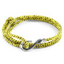 Anchor & Crew Yellow Noir Heysham Silver and Rope Bracelet