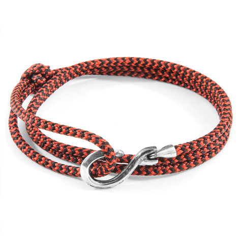 Anchor & Crew Red Noir Heysham Silver and Rope Bracelet
