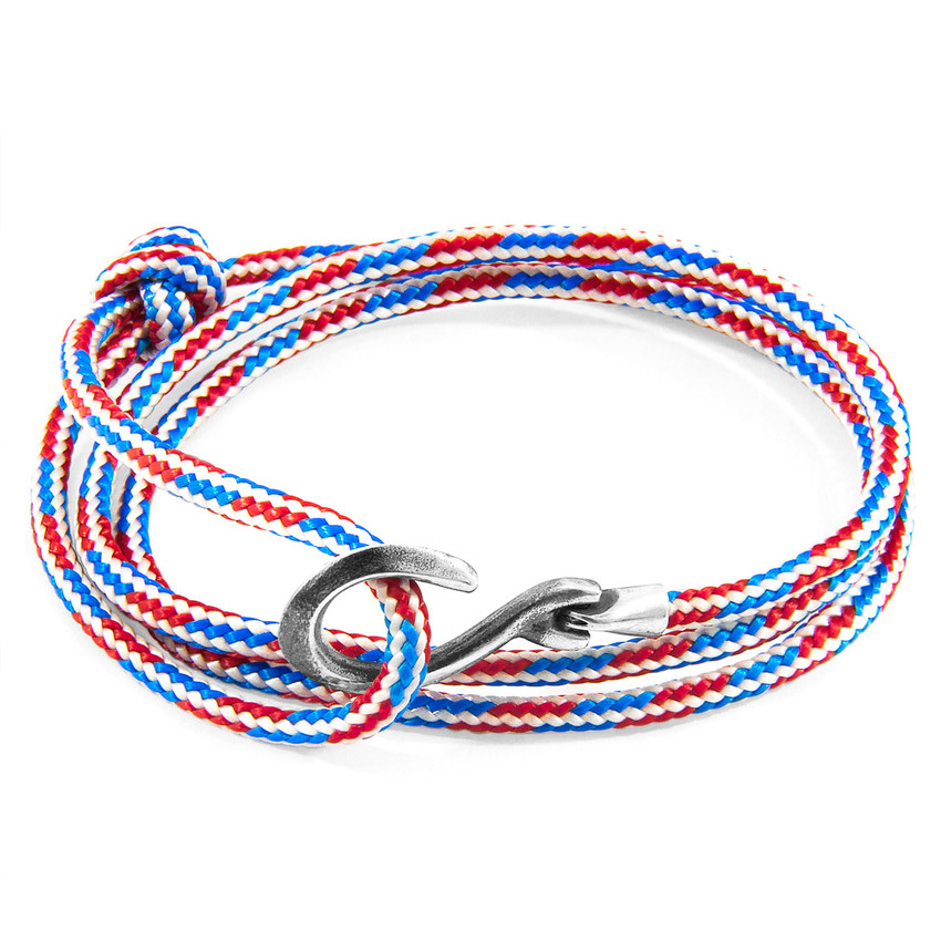 Anchor & Crew Project-RWB Red White and Blue Heysham Silver and Rope Bracelet