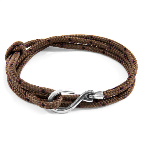 Anchor & Crew Brown Heysham Silver and Rope Bracelet