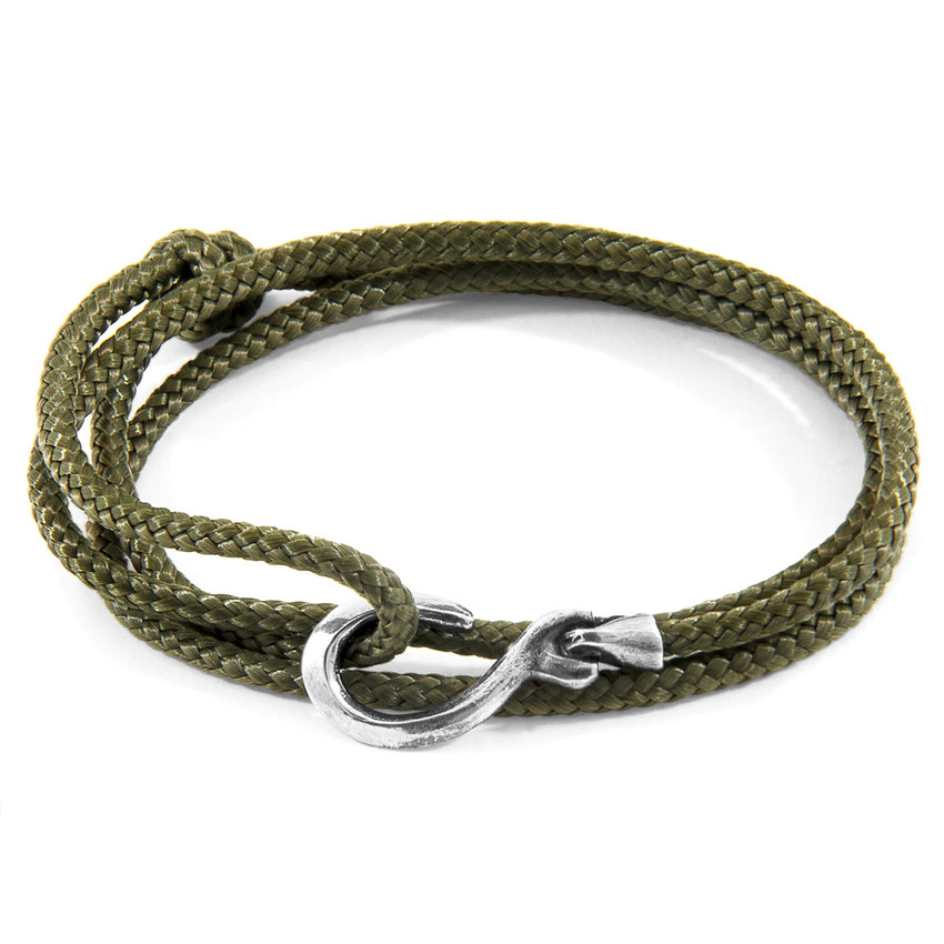 Anchor & Crew Khaki Green Heysham Silver and Rope Bracelet