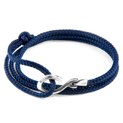 Anchor & Crew Navy Blue Heysham Silver and Rope Bracelet