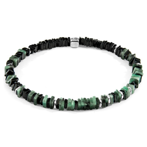 Anchor & Crew Green Emerald Innot Silver and Stone Bracelet