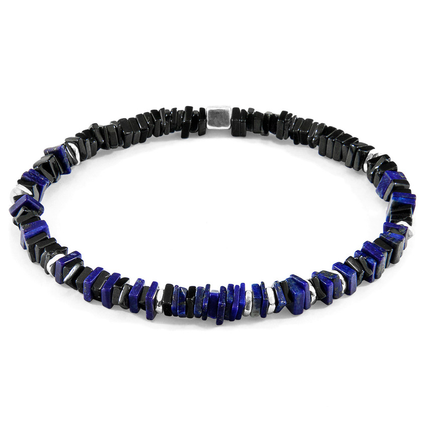 Anchor & Crew Blue Lapis Lazuli Innot Silver and Stone Bracelet