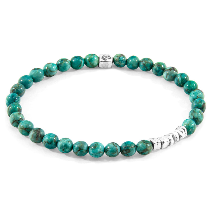 Anchor & Crew Blue Turquoise Atrato Silver and Stone Bracelet