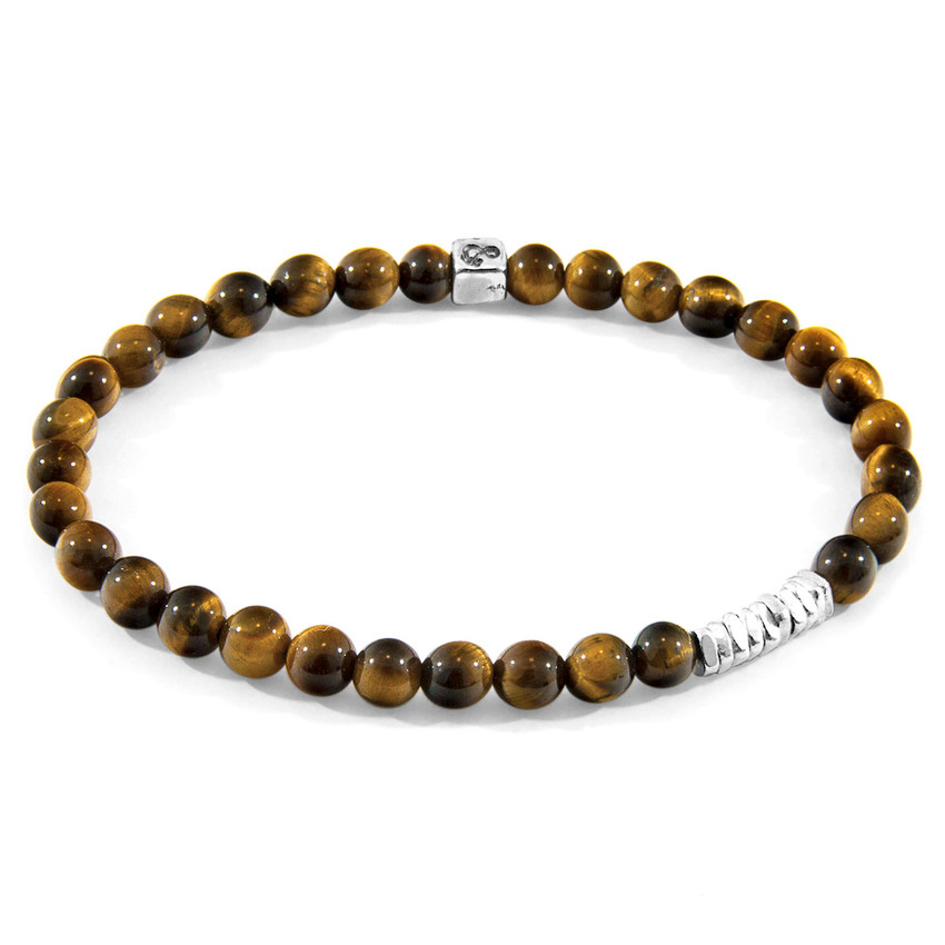 Anchor & Crew Brown Tigers Eye Atrato Silver and Stone Bracelet