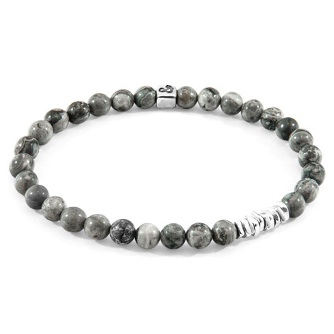 Anchor & Crew Grey Jasper Atrato Silver and Stone Bracelet