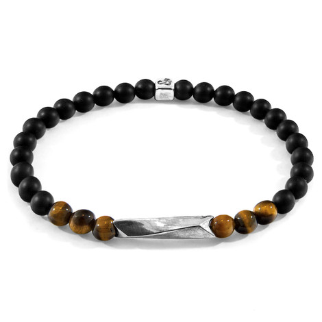 Anchor & Crew Brown Tigers Eye Orinoco Silver and Stone Bracelet