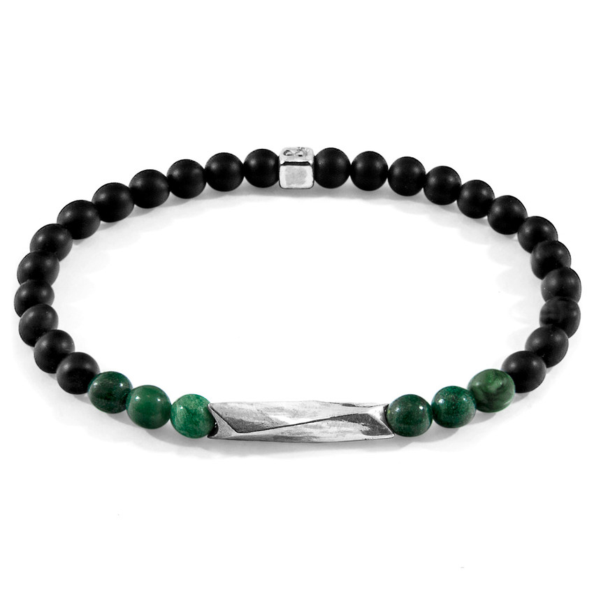 Anchor & Crew Green Jade Orinoco Silver and Stone Bracelet
